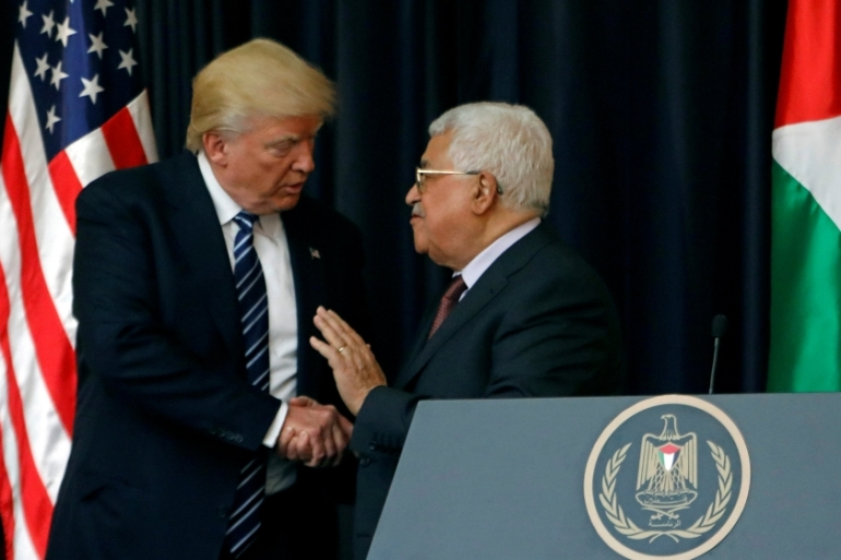 US President Donald Trump met Palestinian President Mahmoud Abbas at the presidential palace in Bethlehem [Mohamad Torokman/Reuters]