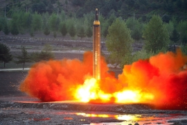 N Korea tested a longer-range missile last weekend, which experts say was a significant advance for its weapons programme [Reuters]