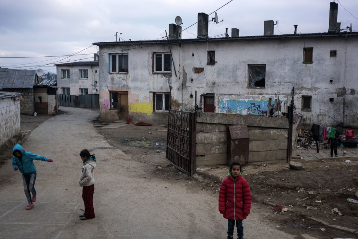 With little to no state funding for Jarovnice's development, there is nowhere for children to play but the streets. [Sorin Furcoi/Al Jazeera]
