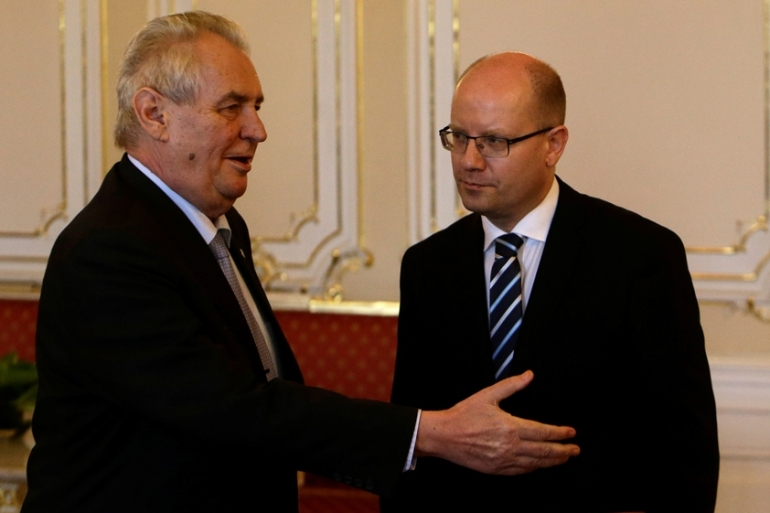Zeman (left) made it clear that he would treat the resignation as Sobotka's, right, own [File: David W Cerny/Reuters]