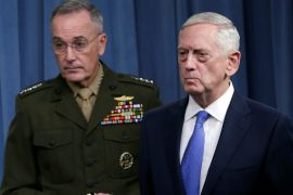James Mattis and Joint Chiefs Chairman Marine General Joseph Dunford hold a press briefing on Friday [Yuri Gripas/Reuters]