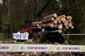 Environmental activists chain themselves to a logging machine during an action in the defence of one of the last primeval forests in Europe, Bialowieza forest [Kacper Pempel/Reuters]