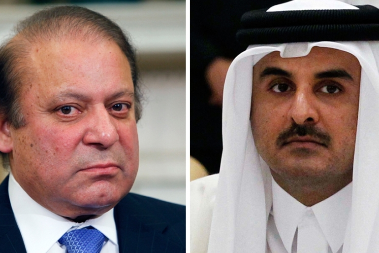 Pakistan's Prime Minister Nawaz Sharif holds close ties with the ruling families in both Saudi Arabia and Qatar [EPA]