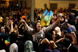 Women shout during a protest against official abuses and corruption in the town of Al-Hoceima on June 3, 2017 [Youssef Boudlal/Reuters]
