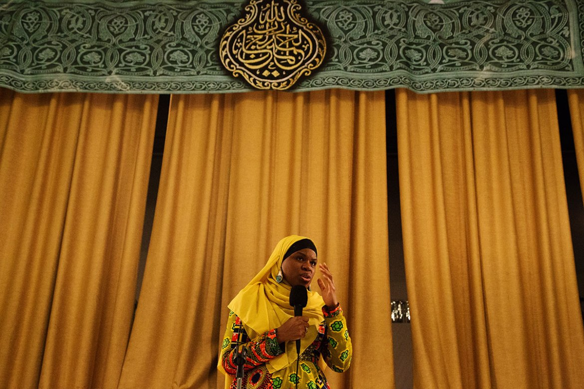 "Iesha Prime, a well-known figure within the Muslim community in the United States, speaks at Philadelphia Masjid for a programme titled ""The Future of Muslims in America"". She specifically addressed the city's African American Muslims and the importance of understanding Islam within its cultural context. [Annie Risemberg/Al Jazeera]"