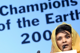 Sudanese climate researcher Balgis Osman-Elasha after receiving the UNEP Champion of the Earth award in 2008 [How Hwee Young/EPA]