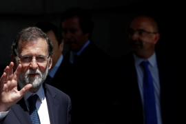 Rajoy heads a minority government following an inconclusive election in 2016 [Susana Vera/Reuters]
