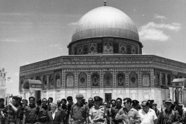 Israeli leaders after the capture of East Jerusalem at the the Dome of the Rock in the al-Aqsa Mosque Compound in June, 1967 [Getty Images]