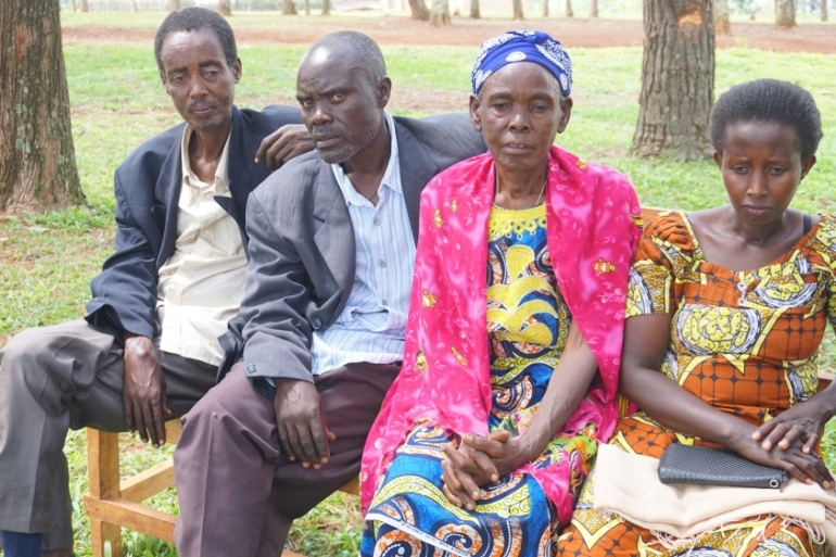 Irene Mukaruziga, second from right, a genocide survivor whose husband was killed by her Hutu neighbour says forgiveness was a hard path for her [Valerie Hopkins/Al Jazeera]