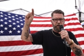 "Gavin McInnes speaks during an event called ""March Against Sharia"" in New York City [File: Stephanie Keith/Reuters]"