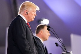 Donald Trump spoke at a joint news conference with Polish President Andrzej Duda in Warsaw [Krzysztof Sitkowski/Reuters]