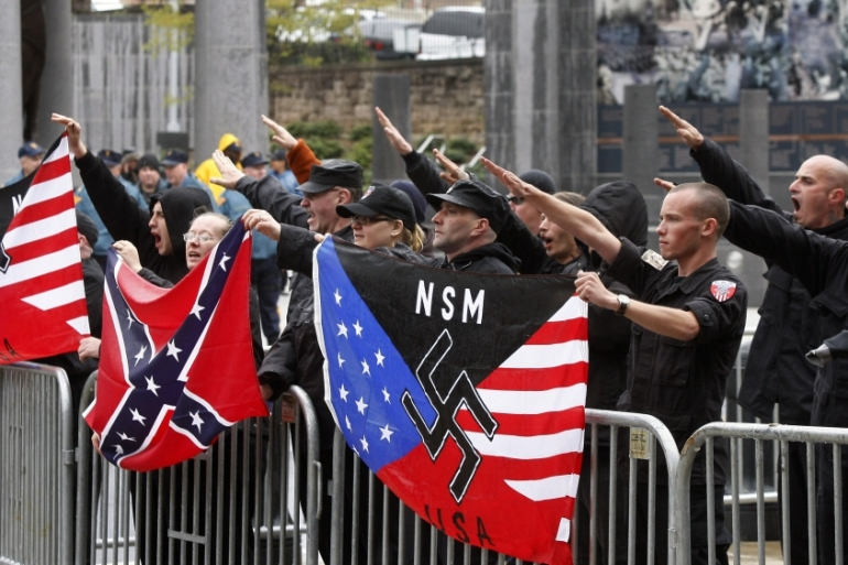 Neo-Nazis demonstrate in front of the US Capitol in 2008, in Washington, DC [File: Haraz N. Ghanbari/Associated Press]