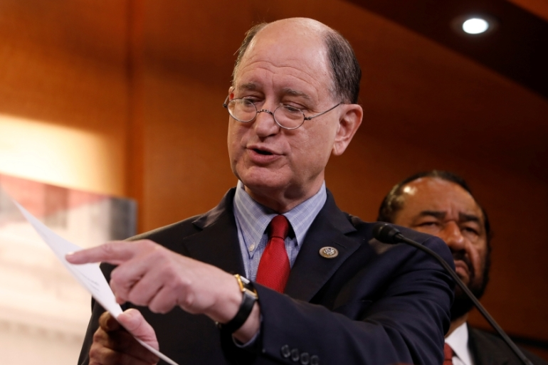 Rep. Brad Sherman (D-CA) acknowledges that filing the article is 'the first step on a very long road' [Aaron P. Bernstein/Reuters]