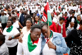 Kenyans pray during a rally calling for peace before Kenya's August 8 election in Nairobi, Kenya  [Baz Ratner/Reuters]