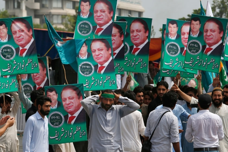 Thousands of Sharif party supporters thronged the capital to join in the rally [AP]