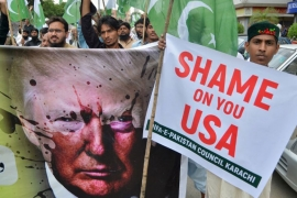 Anti-US protests have been held in different cities criticising Trump's statement on Pakistan [Asif Hassan/AFP]