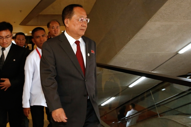 "North Korean Foreign Minister Ri Yong-ho has criticised Washington's ""arbitrary action"" against his country [AFP]"