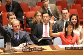 The US-led resolution was unanimously adopted by the Security Council [Mary Altaffer/AP]