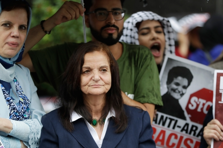 Rasmea Odeh insists she was tortured by Israeli military into confessing to taking part in two bombings [Carlos Osorio/AP]