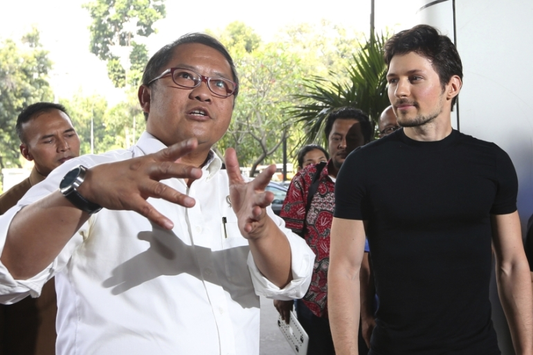 Rudiantara, left, and Durov, right, said Telegram will remain accessible in Indonesia [Tatan Syuflana/AP]