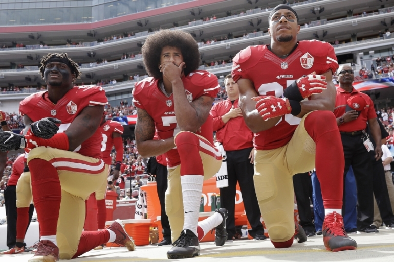 By channeling his celebrity to challenge racial injustice, Kaepernick pierced the myth that sport is a field divorced from the realities gripping Black men and women in the US, writes Beydoun [AP]