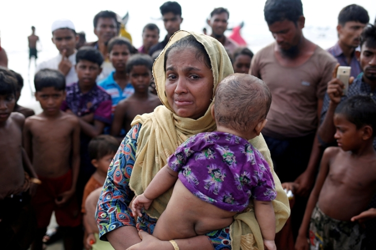 UN office in Cox's Bazaar: over 164,000 refugees have crossed into Bangladesh since August 25 [Mohammad Ponir Hossain/Reuters]