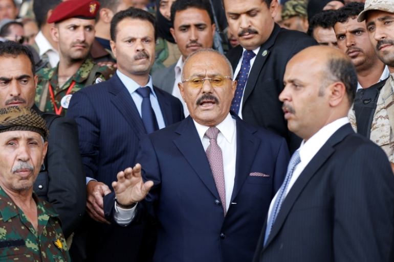 Yemen's former President Ali Abdullah Saleh attends a rally held to mark the 35th anniversary of the establishment of his General People's Congress party in Sanaa, Yemen [Khaled Abdullah/Reuters]