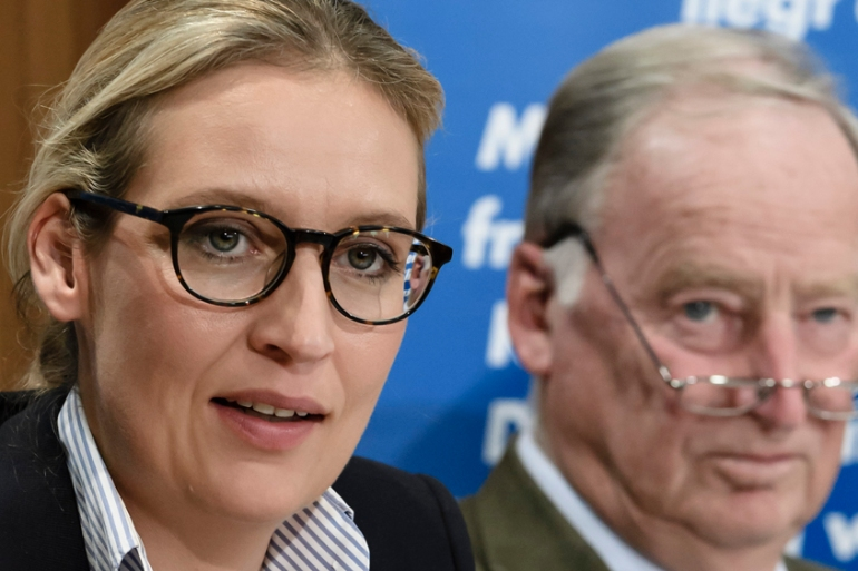 AfD co-leader Alice Weidel (left) and her co-top candidate Alexander Gauland at a press conference in Berlin earlier this month [Clemens Bilan/EPA]