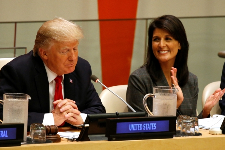 Haley chastised the UN at Friday's session for its 'hostility' towards Israel [Kevin Lamarque/Reuters]