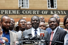 Opposition leader Raila Odinga speaks at a news conference outside the Supreme Court after President Uhuru Kenyatta's election victory was declared invalid [Baz Ratner/Reuters]