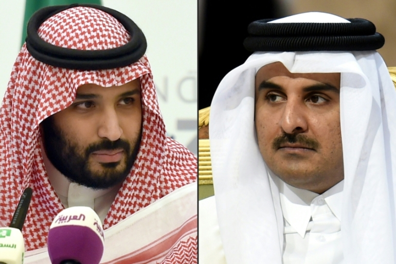 Saudi Arabia's Crown Prince Mohammed bin Salman, left, and Qatar's Emir Tamim bin Hamad Al Thani discussed the Green Saudi and Green Middle East initiatives [File: Fayez Nureldine/AFP]