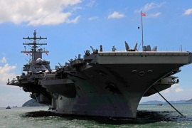 The USS Ronald Reagan aircraft carrier is currently operating off the Korean Peninsula [File: Vincent Yu/AP]