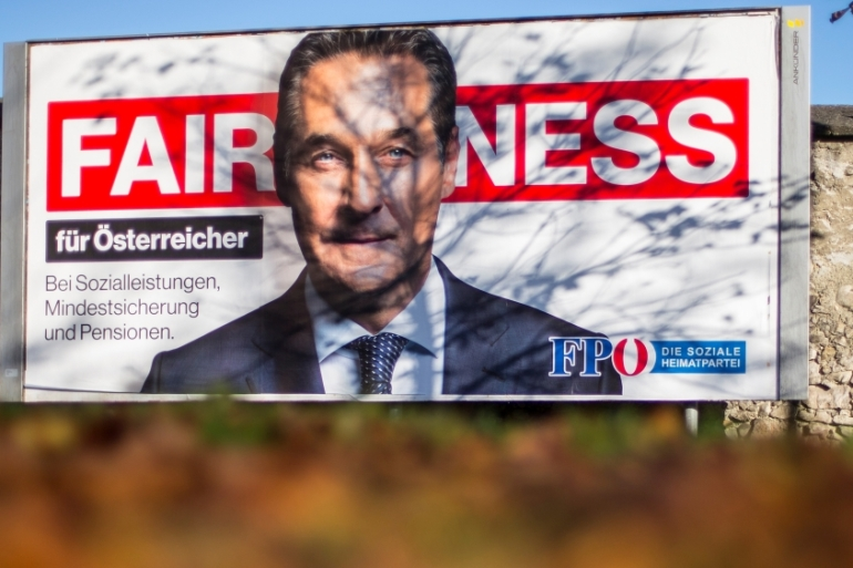 Recent opinion polls have predicted the FPO, under leader Heinz-Christian Strache, will win up to 25 percent of the vote in Austria's October 15 election [Dominic Ebenbichler/Reuters]