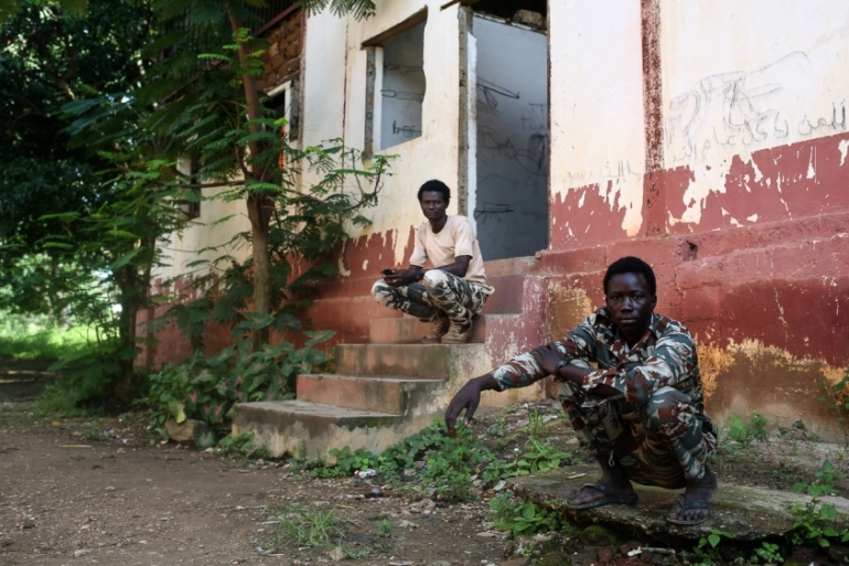 The FPRC in Ndele uses two crumbling buildings as the base for their soldiers [Cassandra Vinograd/Al Jazeera]