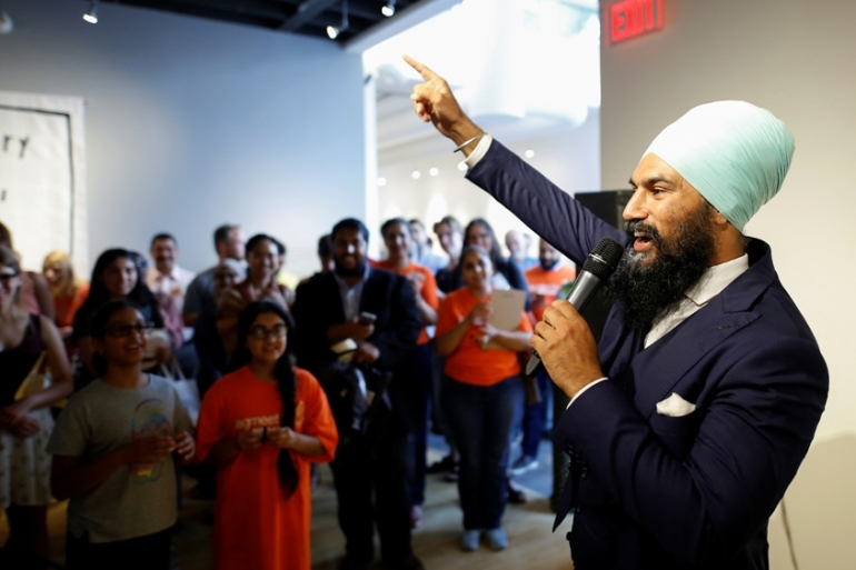 Singh is the first person of colour to lead a major political party in Canada [File: Reuters]