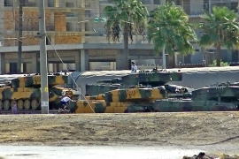 Turkish tanks seen at Iskendurun district in Hatay [Stringer/AFP/Getty Images]