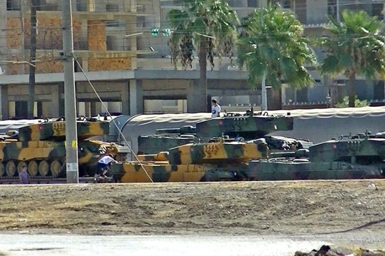 Turkish tanks arrived at the Iskenderun train-port in Hatay on October 7 [Stringer/AFP/Getty Images]