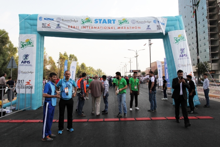 Some 550 international runners had been unable to enter Iraq's Kurdish region to participate in the marathon due to the Iraqi government's closure of airports in Erbil and Sulaimania [Leila Molana-Allen/Al Jazeera]