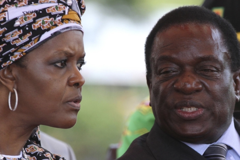 The rivalry between First Lady Grace Mugabe talks to Vice-President Emmerson Mnangagwa led to a military intervention in Zimbabwe [Reuters]