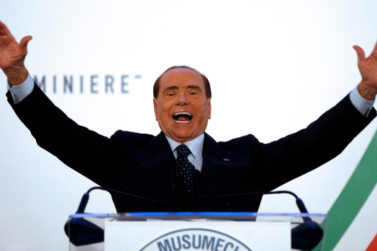 Forza Italia party leader Silvio Berlusconi gestures as he speaks during a rally in Catania, Italy on November 2 [Reuters/Antonio Parrinello]