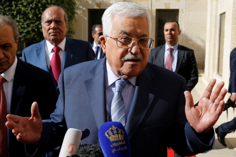 Palestinian officials rejected the reports and said their position was in line with Saudi Arabia [Muhammad Hamed/Reuters]