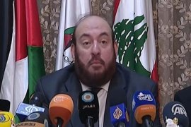 Hamas member Mohammad Nazzal speaks at a press conference in Beirut [Al Jazeera]