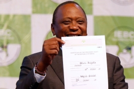 Uhuru Kenyatta was announced winner of the repeat presidential election on October 30 [Thomas Mukoya/Reuters]