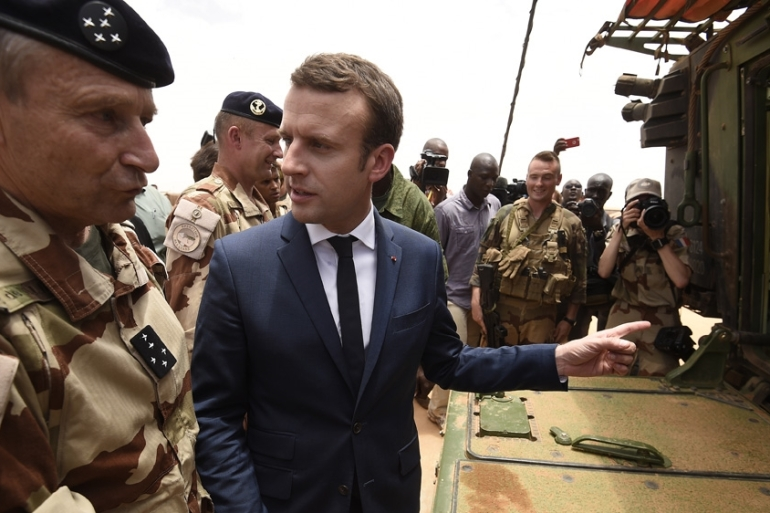 French President Emmanuel Macron observed operations in northern Mali in May [Christophe Petit Tesson/EPA]