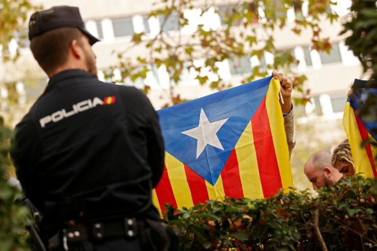 Nine dismissed Catalan leaders have been jailed by a Spanish judge [Francisco Seco/AP Photo]