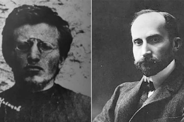 During the Russian civil war Vladimir Antonov Ovseenko (left) fought with the Red army, while Nikolay Lvov (right) supported the White army [Sergey Kozmin/Al Jazeera][Wikipedia]
