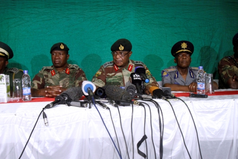 Commander of Zimbabwe Defence Forces General Constantino Chiwenga (C) addresses the media with other security chiefs in Harare, Zimbabwe November 20, 2017.REUTERS/Philimon Bulawayo [Reuters]