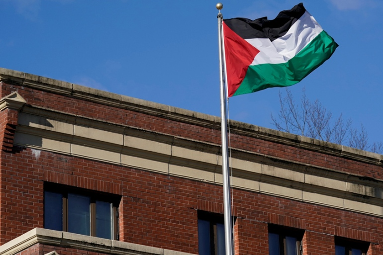 The Palestinian flag waves at the Palestine Liberation Organisation office in Washington, DC earlier this month [Yuri Gripas/Reuters]