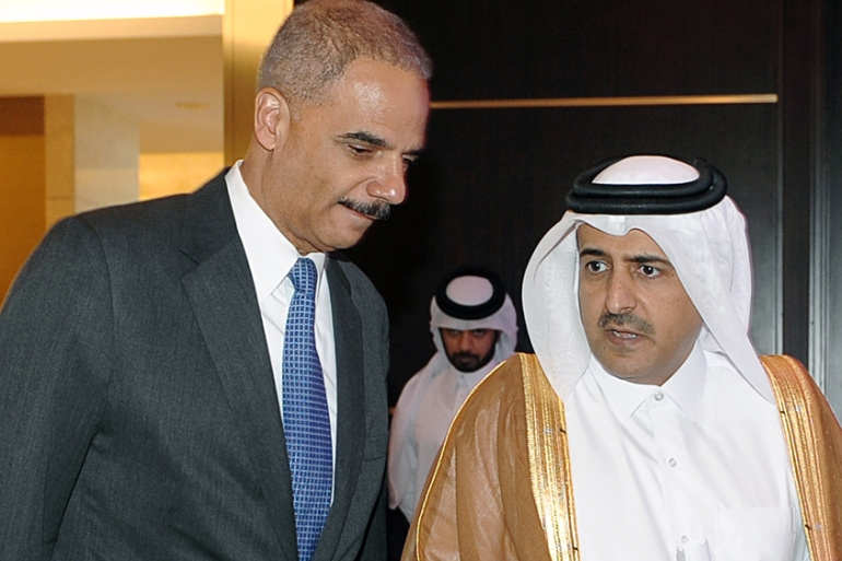Attorney-General Ali bin Fetais Al Marri [right] denied Qatar paid any bribes for the 2022 World Cup [EPA]
