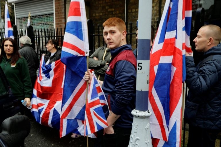 Britain First campaigns on an anti-Muslim, anti-migrant, anti-EU platform [Kevin Coombs/Reuters]